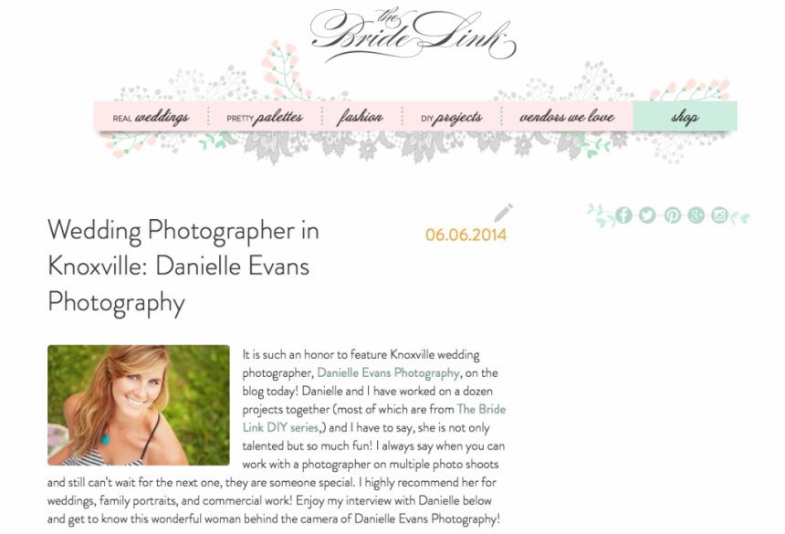 danielle evans photography on bride link