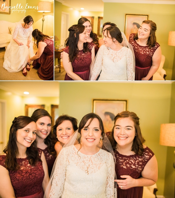 Bride getting ready with help from bridal party