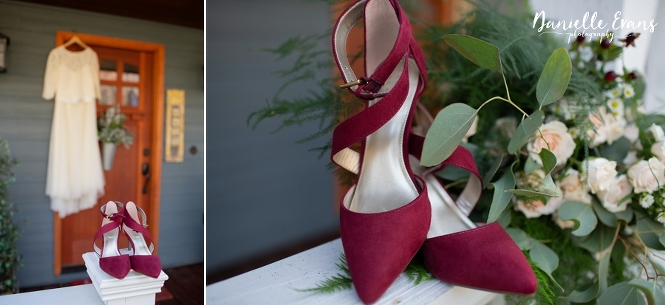 detail shots of bridal gown and burgundy shoes