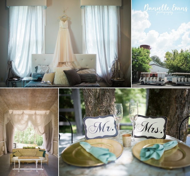 Wedding details at Swann Plantation of wedding dress, seating area and sweatheart table
